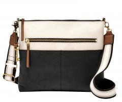 Fossil Crossovertasche Leder Fiona Large Black/White
