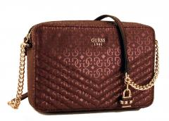 Guess Handtasche Halley Bordeaux Rot Kette Gold