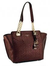 Guess Schultertasche Halley Kette Gold Bordeaux Rot