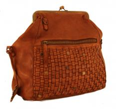 Harbour2nd Doris Crossovertasche Leder Flecht Bügel Cognac