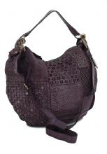 Harbour2nd Runa Ledertasche Blumen gestanzt Purple Lila