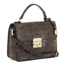 Kurzgrifftasche Top Handle L.Credi Desiree Reptiloptik braun