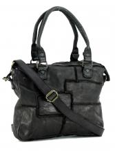 1c0255cb86681 Patchworktasche Grizzly Bear Bags schwarz Vintage Leder