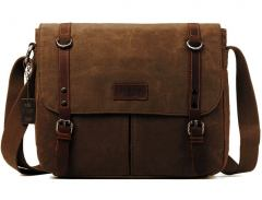 troop Collegetasche Canvas Leder Braun