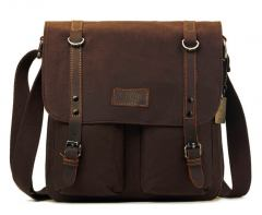 troop erweiterbare Crossovertasche Baumwolle Dark Brown