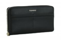 Brieftasche Iconic Tommy Hilfiger Large zip around Geldbörse Black