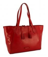 The Bridge Shoppertasche  Leder Rot Fransen